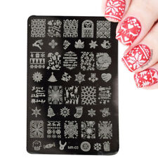 Nail Art Stamping Plates Image Plate CHRISTMAS Reindeer Holly Snowflakes (MR03)