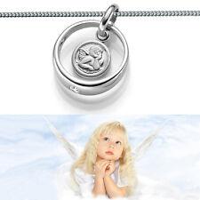 Taufring mit weißem Zirkonia Stein und Schutz Engel inkl Halskette Silber 925