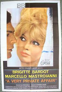 VERY PRIVATE AFFAIR 1 sheet USA movie poster 27x41 Brigitte Bardot Film1962 NM.