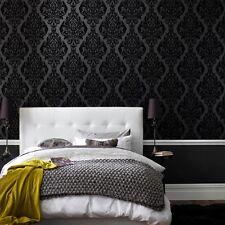 Brilliance! DIY black Flocked Velvet Damask Wallpaper. Kinky Vintage 10M ROLL