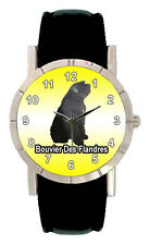 Bouvier Des Flandres Dog Men Lady Genuine Leather Quartz Wrist Watch Sa1188