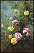 Giallo e rosa rose da George Cochran lambdin 100% cotone fine art canvas print