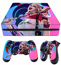 PS4 Slim Skin Harley Quinn Suicide Squad Pink 02 + Pad Decals Vinyl New LAY FLAT