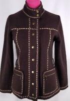 Herman Geist Womens Wool Blazer Jacket Size S Brown Detail Stitching