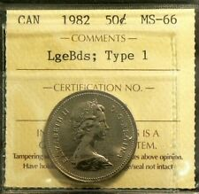 1982 Canada 50 Cents ICCS MS 66 Large Beads Type 1 #3345