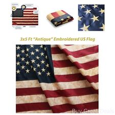 Tea Stained American Us Flag 3x5 Ft Nylon 4 Row of Lock Stitching Home Decor Add