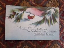 Vintage Postcard Best Christmas Wishes From Your Friend, Horse And Sleigh