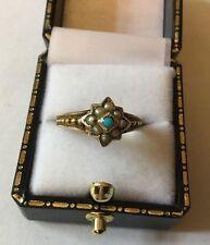 Antico Vittoriano HM 9ct 9k Gold Turchese Semi Pearl Cluster Anello Dimensione N
