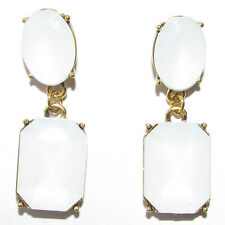 Bronze White Resin Opal Stud Drop Earrings Boho Vintage Rectangle Geometric 1307