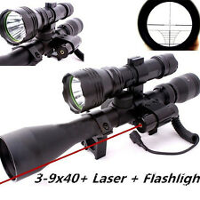 Hunting 3-9X40 Riflescope Red Dot Laser Optics QQ01 Scope Mount Red Laser Sight