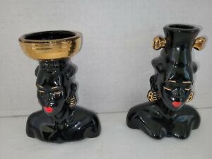 Pair Vintage Blackamoor Figures Mid Century Ceramic Man Woman Nubian