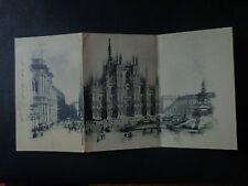 CARTOLINA TRIPLA MILANO PIAZZA DUOMO VIAGGIATA DEL 1910 SUBALPINA AAA