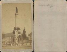 Chambéry, Fontaine des Eléphants, statue du Général Boigne Vintage CDV albumen c
