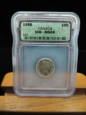1956 10 Cent Coin Canada Elizabeth II Dot on Year ICG Graded MS64 Ten Cents