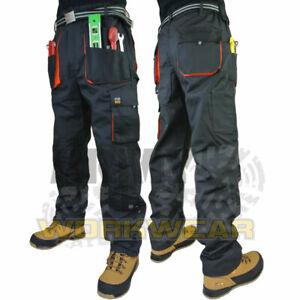 Work Combat Trousers Mens Cargo Multi Knee Pad Pocket Pants Part Elastic Waist