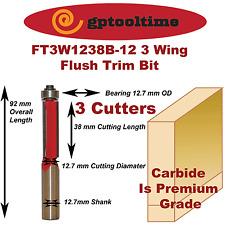 Router Bit Flush Trim Bit TCT 3 Blades  FT3W1238B-12  12.7mm Shank (Pack Of 2)