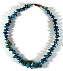 """17 1/8"""" VINTAGE TURQUOISE NUGGET BEADS BEADED NECKLACE 57.6 GRAMS SOUTHWESTERN"""