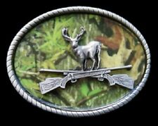 Camouflage Deer Buck Hunting Hunter Rifle 3D Belt Buckle Boucle de Ceintures