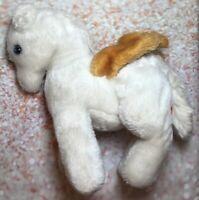 Vintage Dakin Pegasus White Gold Wing Horse Plush Stuffed Animal Soft Toy