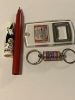 Lot Of 3 Vintage Beer Brewery Advertising Keychain Bottle Opener Pen Bud SPUDS-M