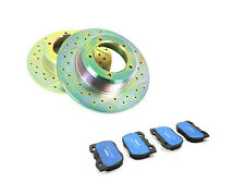 Land Rover New Drilled /Grooved Performance Front Brake Discs & Ferodo Pads Set