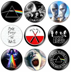 9 x Pink Floyd 32mm BUTTON PIN BADGES Album Rock Band Brick Wall Dark Side Music