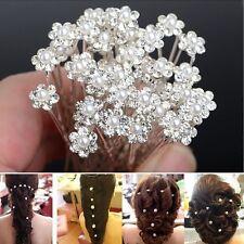 20Pcs Fashion Wedding Bridal Pearl Flower Clear Crystal Rhinestone Hair Pins