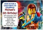20 x LEGO BIRTHDAY PARTY PERSONALISED CHILDRENS INVITATIONS + FREE MAGNETS