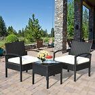 3pcs Patio Rattan Furniture Set Conversation Sofa Cushioned Coffee Table Garden