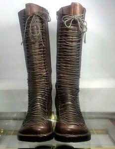 Miz Mooz by Gazith TAMARA Lace Up Platform Boots Brown EU 39 Women 8.5-9 US