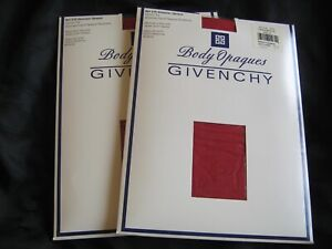 (2) Givenchy Pantyhose Shimmer Opaque Control Top Sz B 510 Canneberge Cranberry