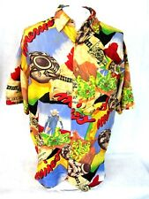 SILK CLUB Men Hawaiian shirt pit to pit 26 L VTG 1990s Southwest pottery Seattle