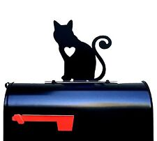 Cat with Heart Silhouette Mailbox Topper / Sign - Powder Coated Steel - USA Made