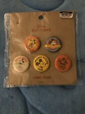New listing Mickey Mouse Pin Back 5 Button Set 2018 Disney Junk Food 90th Anniversary
