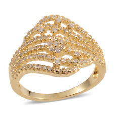 Yellow Gold Over Sterling Ring 7 White Clear Simulate Diamond Openwork 14K