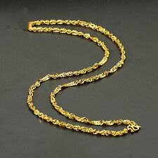 Real 24K Yellow Gold Necklace Charming Unique Design Women's Necklace Xlee