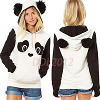 Fashion Womens Autumn Panda Pocket Hoodie Sweatshirt Hooded Pullover Tops Jumper