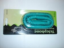 25' Foot Coiled Telephone Modular Handset Cord Teal Replacement New