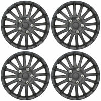 "Lightning Black 14"" Car Wheel Trims Hub Caps Plastic Covers Universal (4Pcs)"