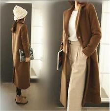 Winter Women Wool Cashmere Overcoat Single-Breasted Coat Slim Jacket Long Parkas
