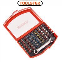 49PC Colour Coded Screwdriver Bit Set Mini Ratchet Slotte Phillips Pozi Torx Hex