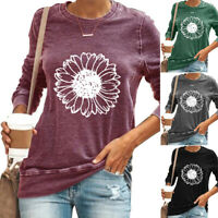 Women's Sunflower Long Sleeve T-Shirt Tops Baggy Casual Blouses Shirts Plus Size