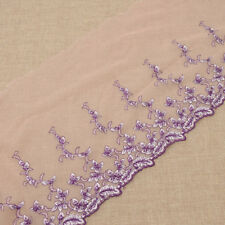 2 Yards Purple Tulle Lace Flower Lace Embroidered Fabric for Weeding Dress