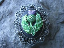 2 IN 1 - HAND PAINTED SCOTTISH THISTLE CAMEO BROOCH / PIN / PENDANT -CELTIC 3