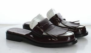 Q60 MSRP$620 Women's Size 37.5EU Burberry Beckshill Burgundy Leather Fringe Mule