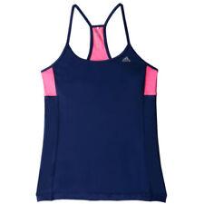 Camisetas y tops de deporte de mujer sin mangas azules de poliéster