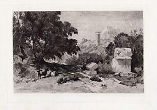 "William James Muller 1800s Etching ""Lion Pillar,Acropolis of Xanthos"" Framed COA"