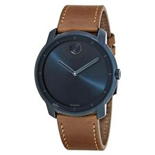 New Movado Bold Ink Blue Dial Cognac Leather Strap Men's Watch 3600470