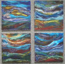 SET OF FOUR ORIGINAL ACRYLIC PAINTINGS ON CANVAS WITH FREE POSTAGE