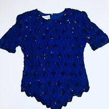 Vintage Sequin & Beaded Top Lawrence Kazar size Small